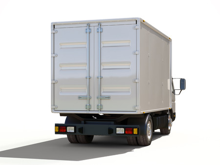 delivery van: White commercial delivery truck on a ligth background with shadow Stock Photo