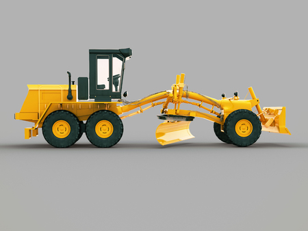 maintainer: Modern three-axle road grader on a gray background Stock Photo