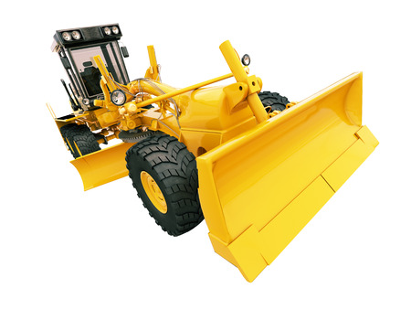 Modern three-axle road grader isolated on a white background photo