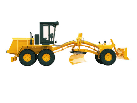 maintainer: Modern three-axle road grader isolated on a white background