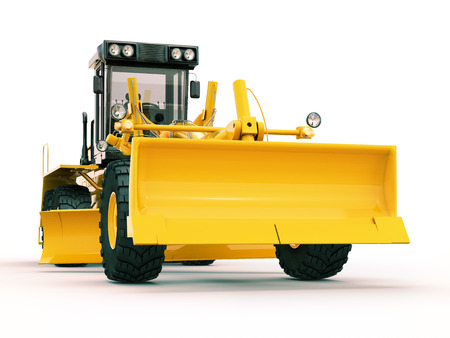 grader: Modern three-axle road grader on a light background
