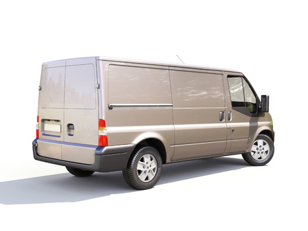 light duty: Gray commercial delivery van on white background