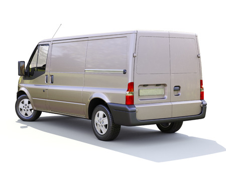 Gray commercial delivery van on white background