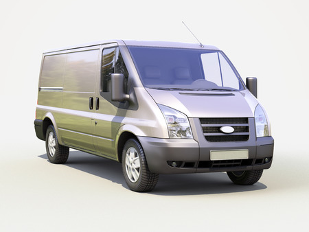 light duty: Gray commercial delivery van on light background