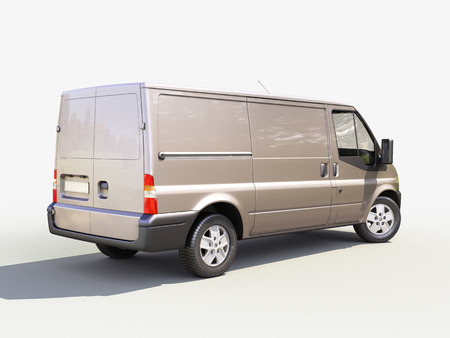 Gray commercial delivery van on light background