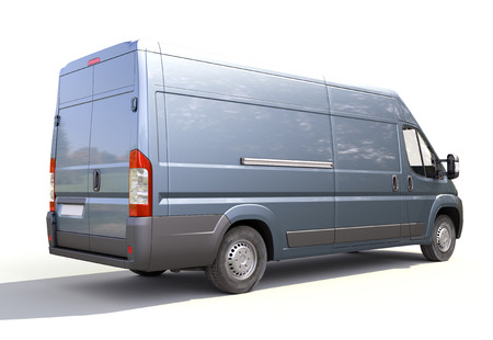 Blue commercial delivery van on a white background Stock Photo