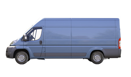 Blue commercial delivery van isolated on a white
