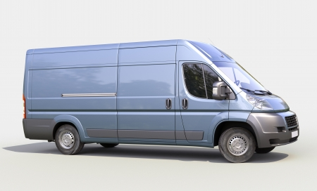 Blue commercial delivery van on a gray