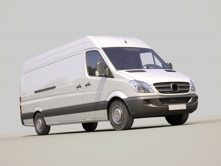 light duty: Modern commercial van on a gray background