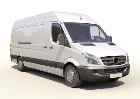 light duty: Modern commercial van on a light