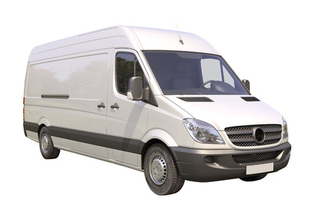 light duty: Modern commercial van isolated on a white