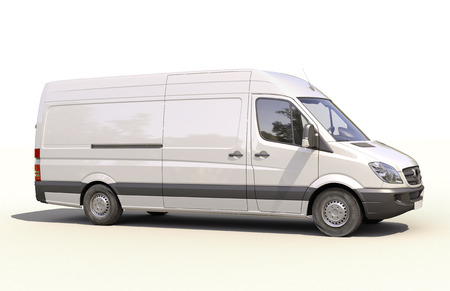 Modern commercial van on a light