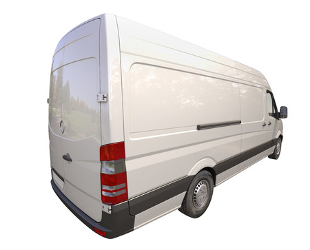 Modern commercial van isolated on a white