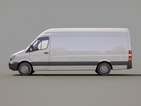 light duty: Modern commercial van on a gray