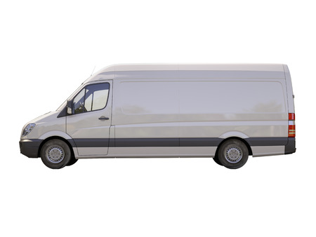 consignment: Modern commercial van isolated on a white