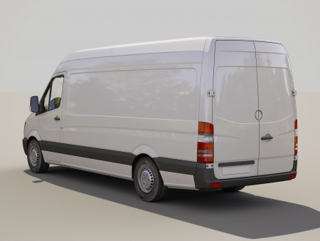 Modern commercial van on a gray