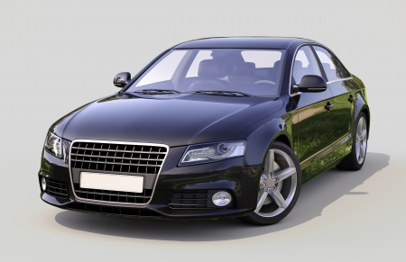 Modern luxury car on a gray background