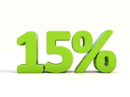Fifteen percent off. Discount 15%. 3D illustration. 免版税图像