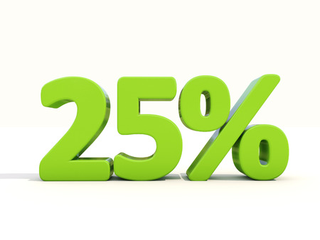Twenty five percent off. Discount 25%. 3D illustration. illustration