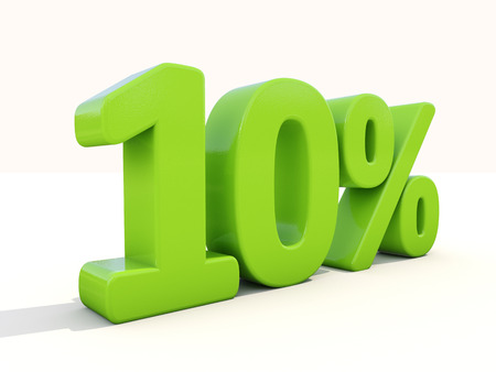 Ten percent off. Discount 10%. 3D illustration. Standard-Bild