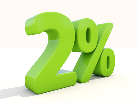 dyad: Two percent off. Discount 2%. 3D illustration.