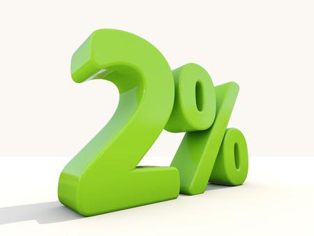 Two percent off. Discount 2%. 3D illustration.