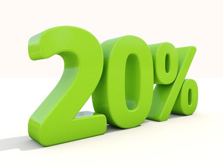 markdown: Twenty percent off. Discount 20%. 3D illustration.