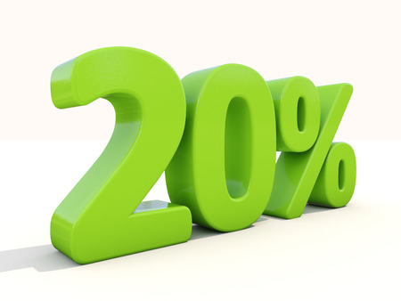 Twenty percent off. Discount 20%. 3D illustration.