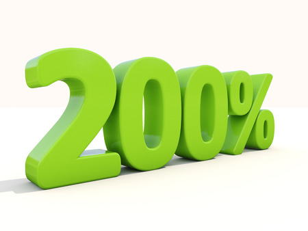 markdown: Two hundred percent. 200% percentage rate icon. 3D illustration.