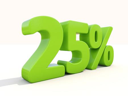 Twenty five percent off. Discount 25%. 3D illustration. illustration