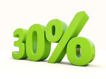thirty percent off: Thirty percent off. Discount 30%. 3D illustration.