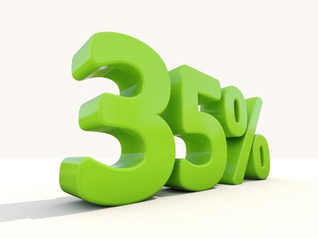 thirty five: Trentacinque per cento di sconto. Sconto del 35%. Illustrazione 3D. Archivio Fotografico
