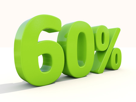sixty: Sixty percent off. Discount 60%. 3D illustration.
