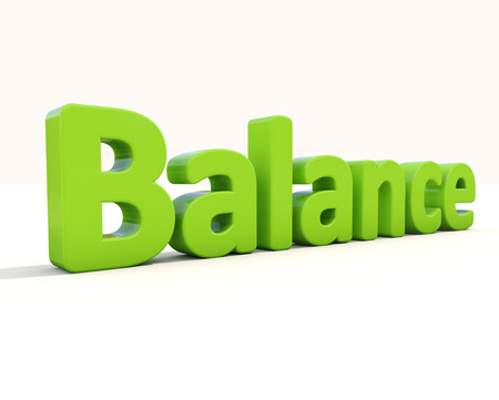 placidity: Word balance on a white background. 3D illustration.