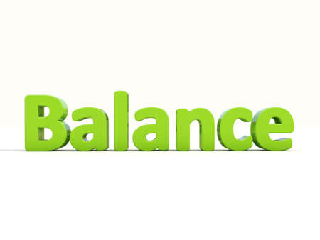 Word balance on a white background. 3D illustration.