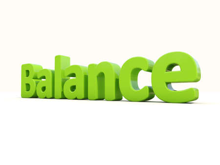 counterpoise: Word balance on a white background. 3D illustration.