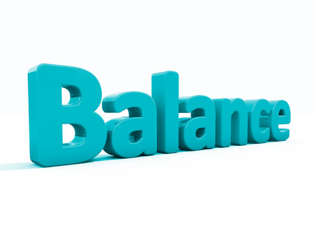 Word balance icon on a white background. 3D illustration. Stock Photo
