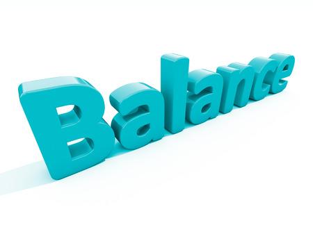 Word balance icon on a white background. 3D illustration. Stock Photo