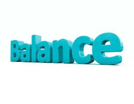 equivalence: Word balance icon on a white background. 3D illustration. Stock Photo