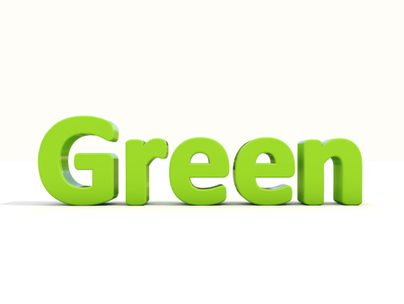 literal: Word green icon on a white background. 3D illustration. Stock Photo
