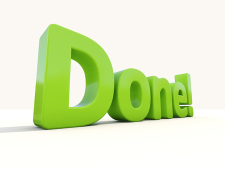concluded: Word done icon on a white background. 3D illustration. Stock Photo