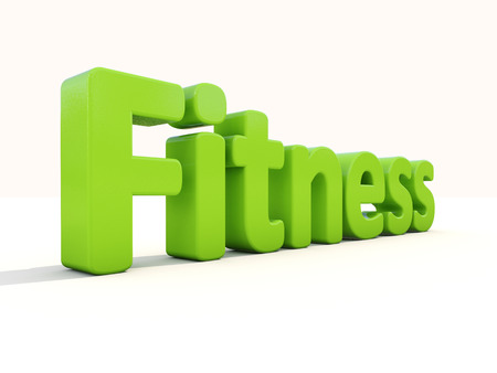 might: Word fitness icon on a white background. 3D illustration.