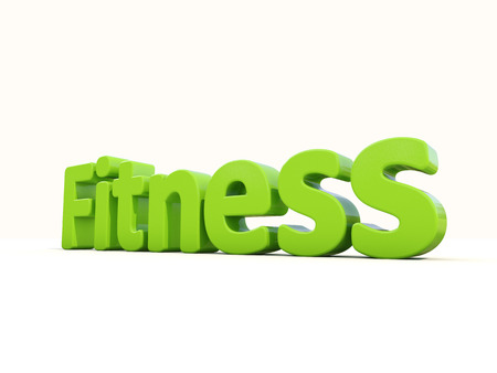 healthfulness: Word fitness icon on a white background. 3D illustration.