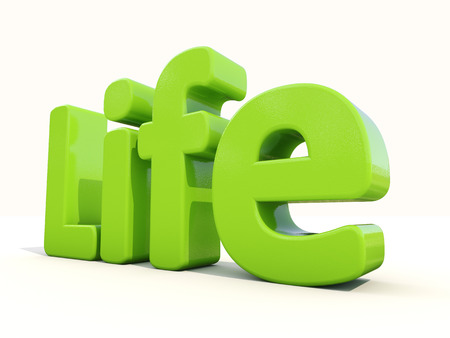 subsist: Word life icon on a white background. 3D illustration. Stock Photo