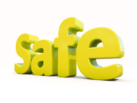 safeguarded: Word safe icon on a white background. 3D illustration.