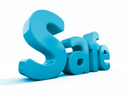 safety signs: Word safe icon on a white background. 3D illustration.