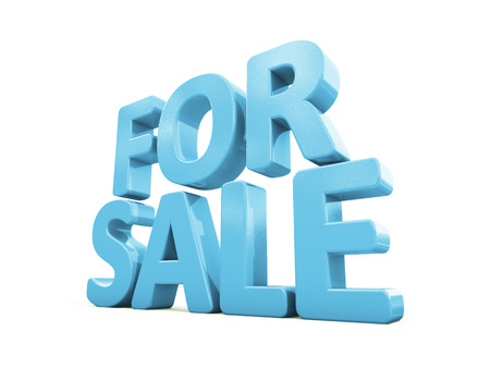 sell out: For sale icon on a white background. 3D illustration Stock Photo