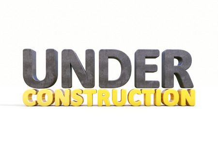 reconsideration: Sign under construction isolated Stock Photo