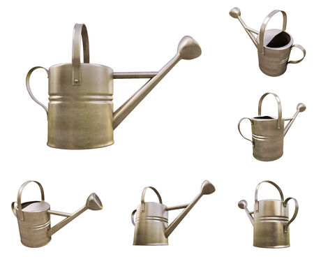raising cans: Watering can made of metal on white