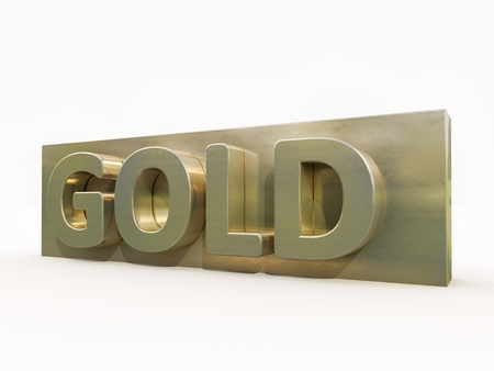 gold standard: Gold icon on white background. 3d precious metal. Stock Photo